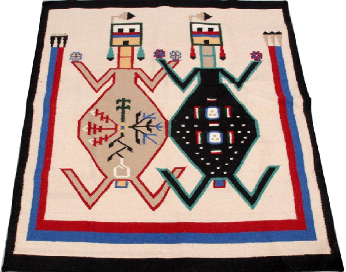 NAVAJO 'MOTHER EARTH & FATHER SKY' WOOL WEAVING