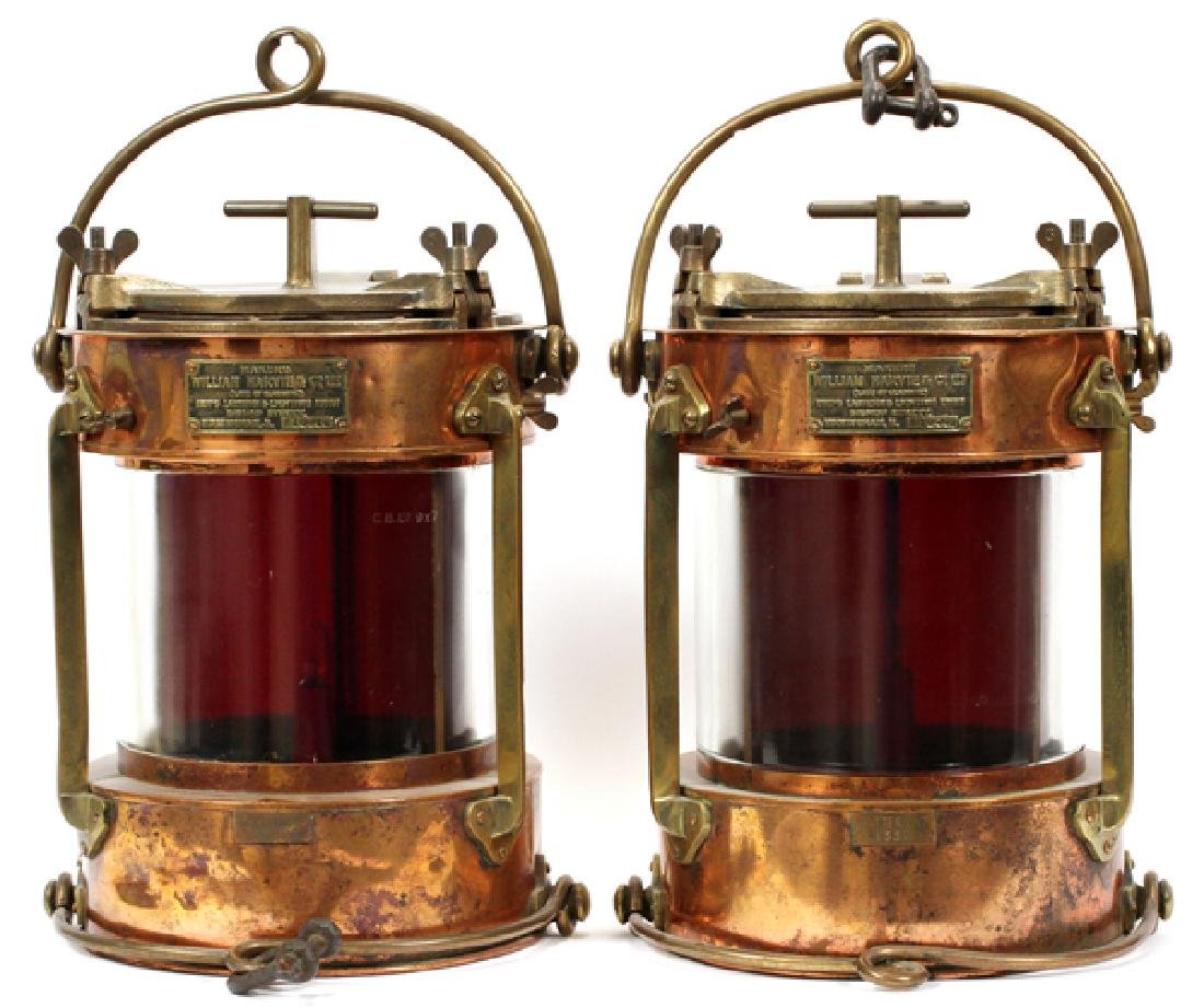 """COPPER AND BRASS SHIPS LANTERNS PAIR H 16"""", D 11"""""""