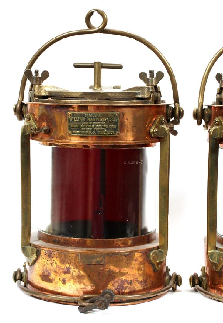 """COPPER AND BRASS SHIPS LANTERNS PAIR H 16"""", D 11"""" - 2"""