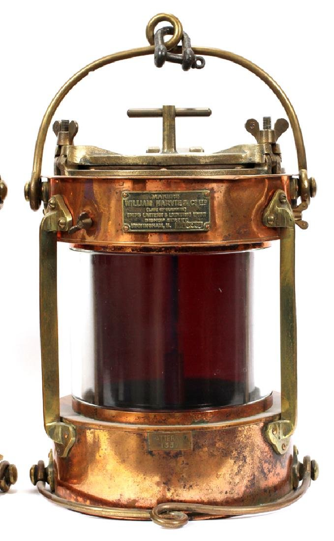 """COPPER AND BRASS SHIPS LANTERNS PAIR H 16"""", D 11"""" - 5"""
