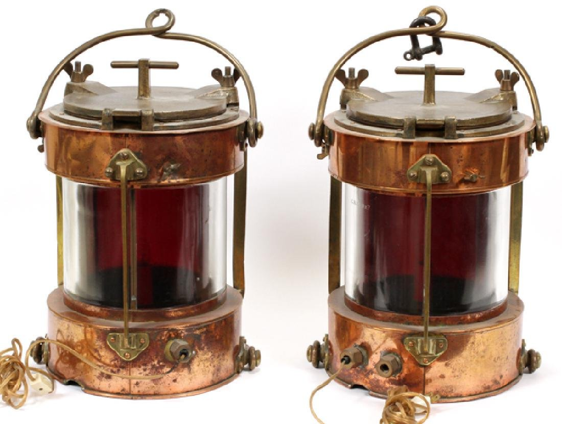 """COPPER AND BRASS SHIPS LANTERNS PAIR H 16"""", D 11"""" - 8"""