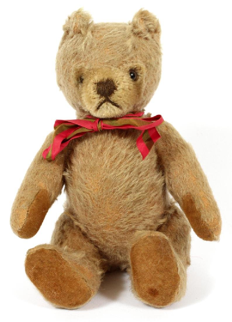 "STEIFF WOOL TEDDY BEAR, H 8"", W 5 1/2"", D 2 1/2"""