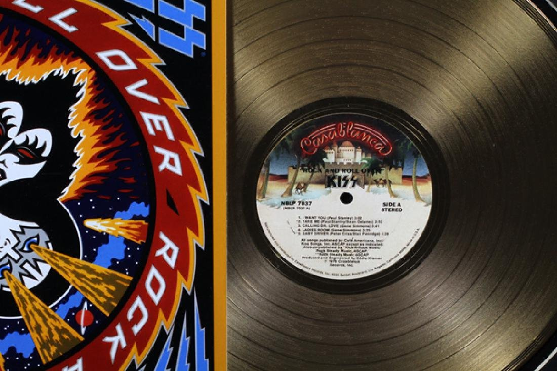 KISS, 'ROCK & ROLL OVER' 24KT GOLD PLATED RECORD - 2