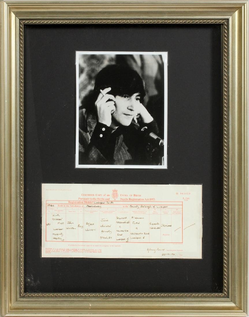 JOHN LENNON PHOTO & BIRTH CERTIFICATE COLLAGE