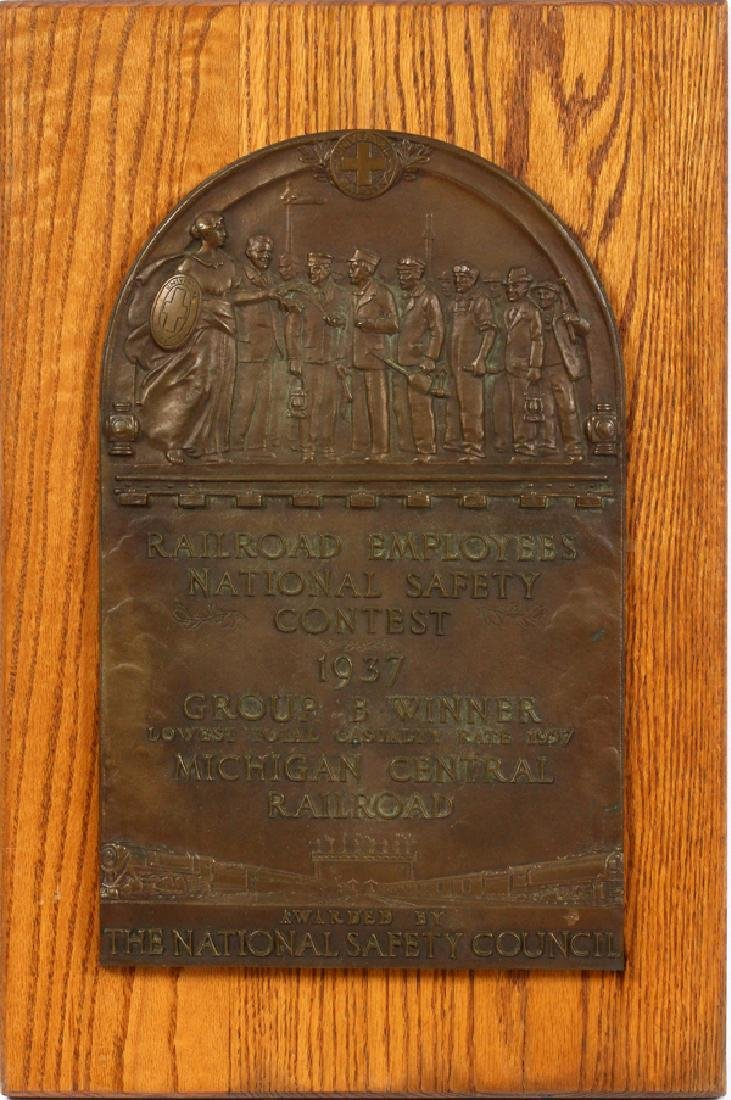 BRONZE PLAQUE RAILROAD EMPLOYEE SAFETY