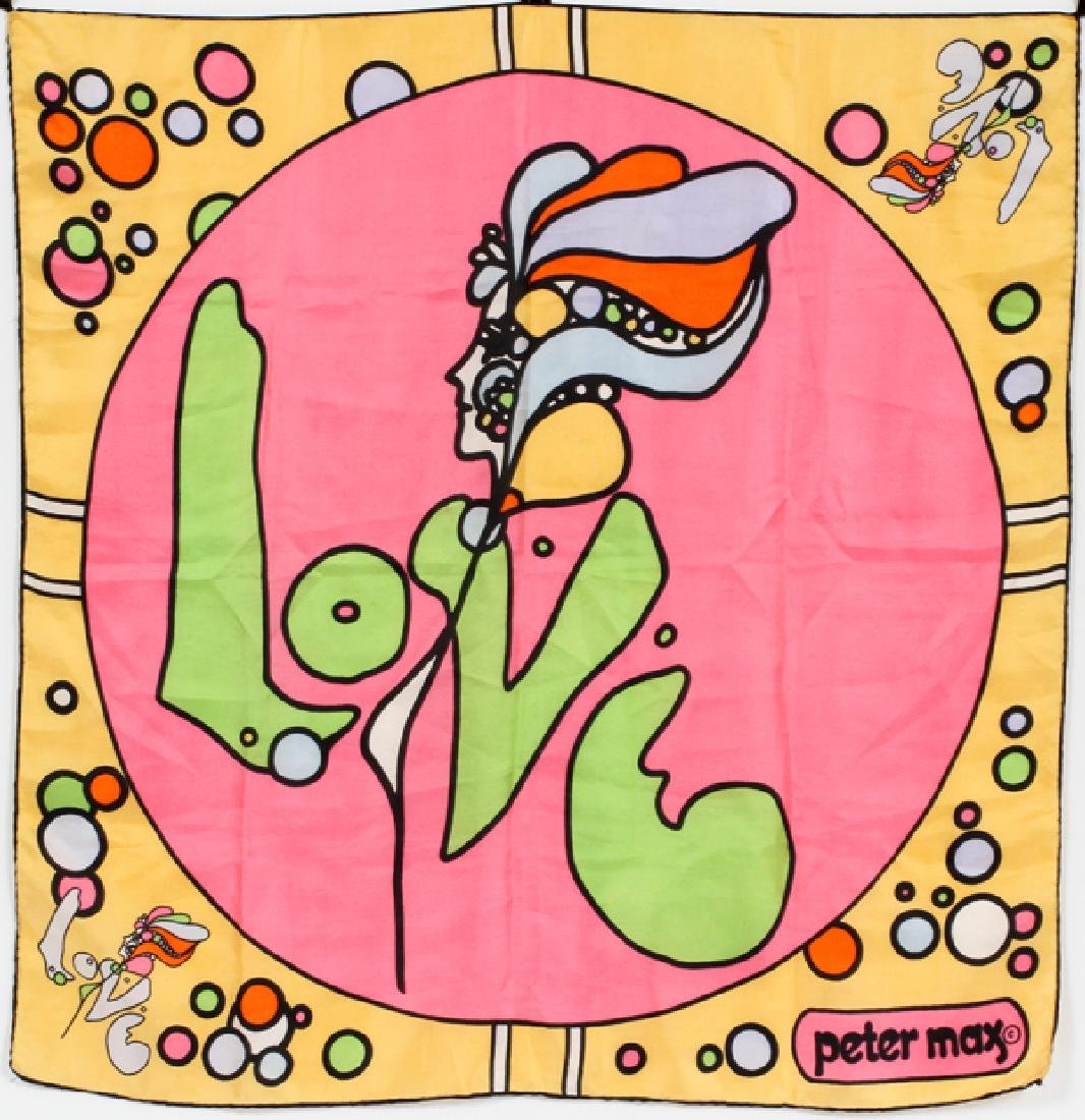 "PETER MAX SILK SCARF ""LOVE"", 27' X 26"""