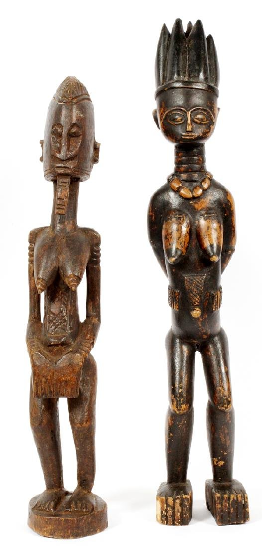 AFRICAN CARVED WOOD FERTILITY FIGURES, TWO