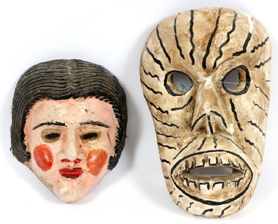 MEXICAN DANCE MASKS, TWO, H 8'' - 11''