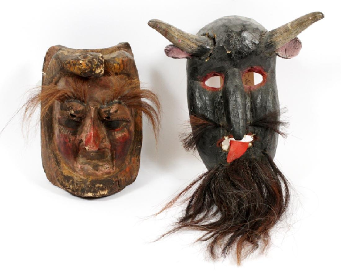 MEXICAN HARDWOOD & HAIR DANCE MASKS, TWO