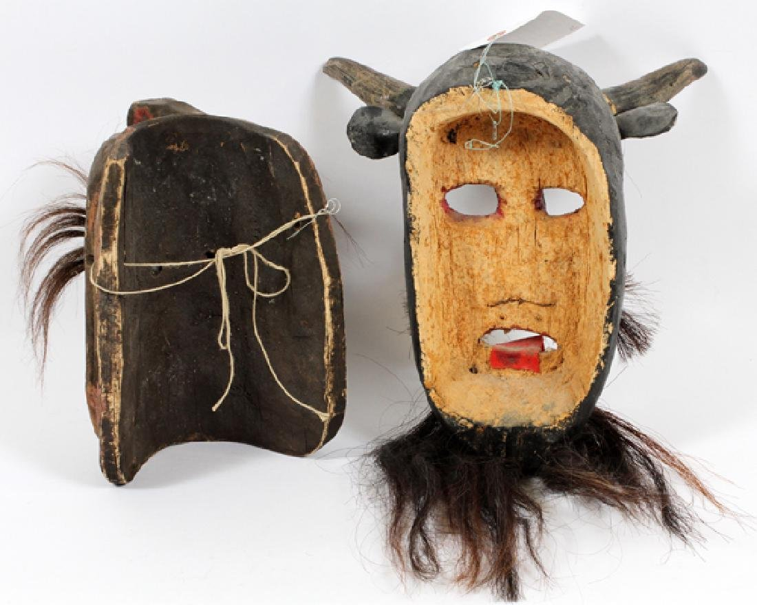 MEXICAN HARDWOOD & HAIR DANCE MASKS, TWO - 2