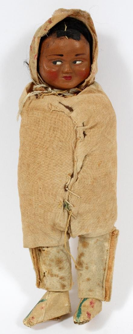 NATIVE AMERICAN CHILD'S PAPOOSE WOOD AND STRAW