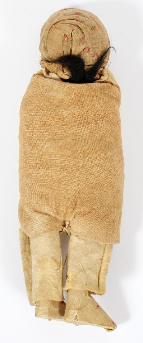 NATIVE AMERICAN CHILD'S PAPOOSE WOOD AND STRAW - 2