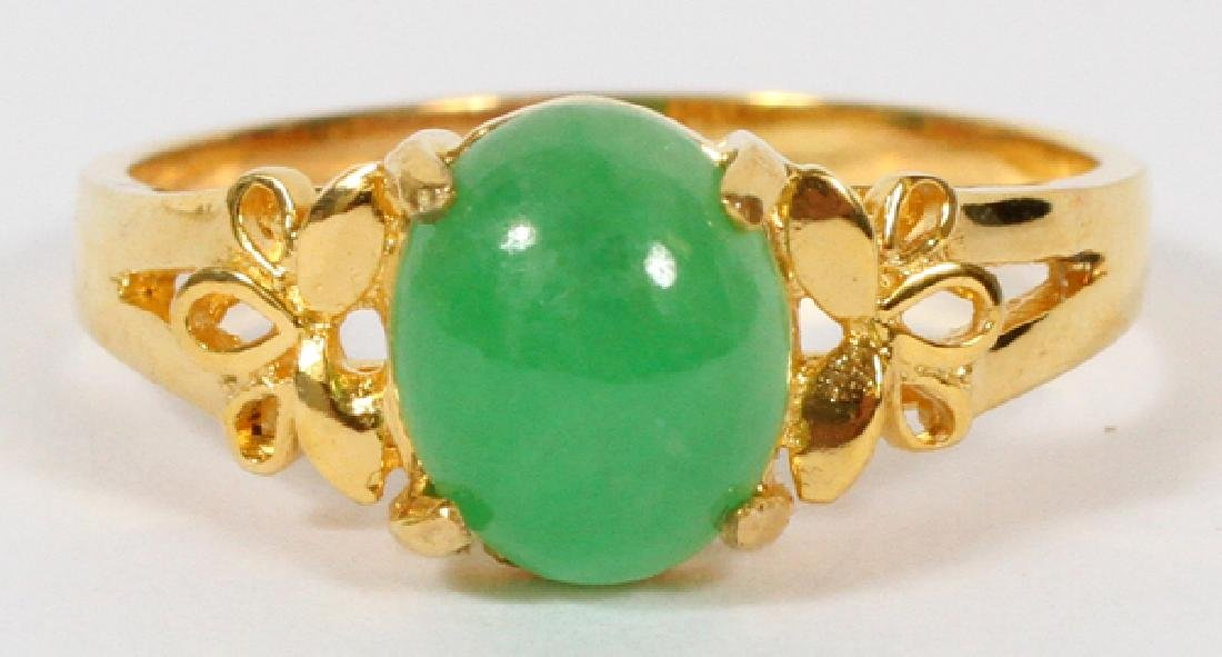 18KT YELLOW GOLD & JADE RING, SIZE 6