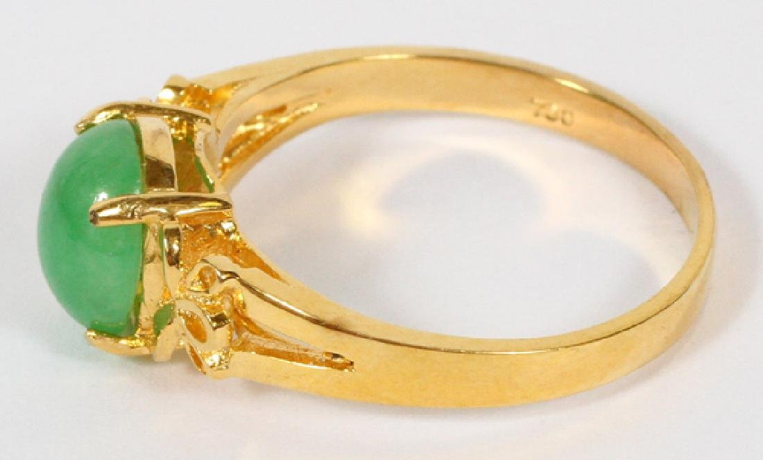 18KT YELLOW GOLD & JADE RING, SIZE 6 - 2