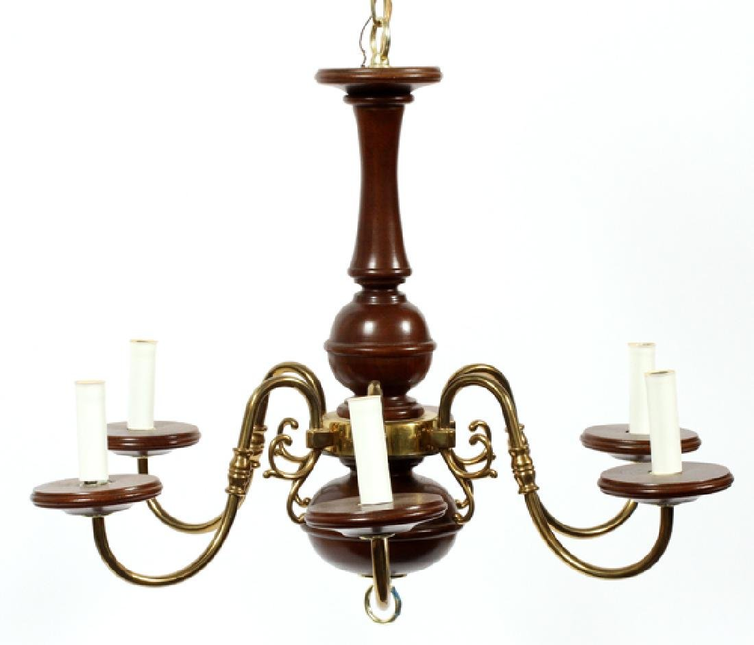 TRADITIONAL WOOD & GOLD TONE CHANDELIER - 2