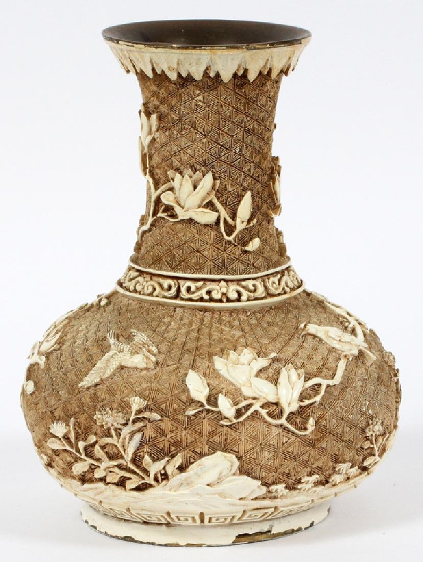 CHINESE CINNABAR CARVED VASE FLORAL WITH BIRD