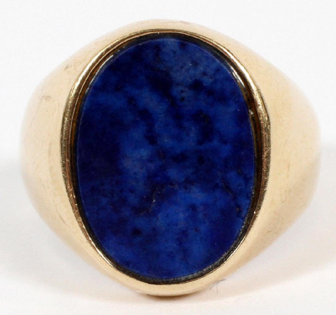 14KT YELLOW GOLD AND LAPIS LAZULI RING, SIZE 7.5