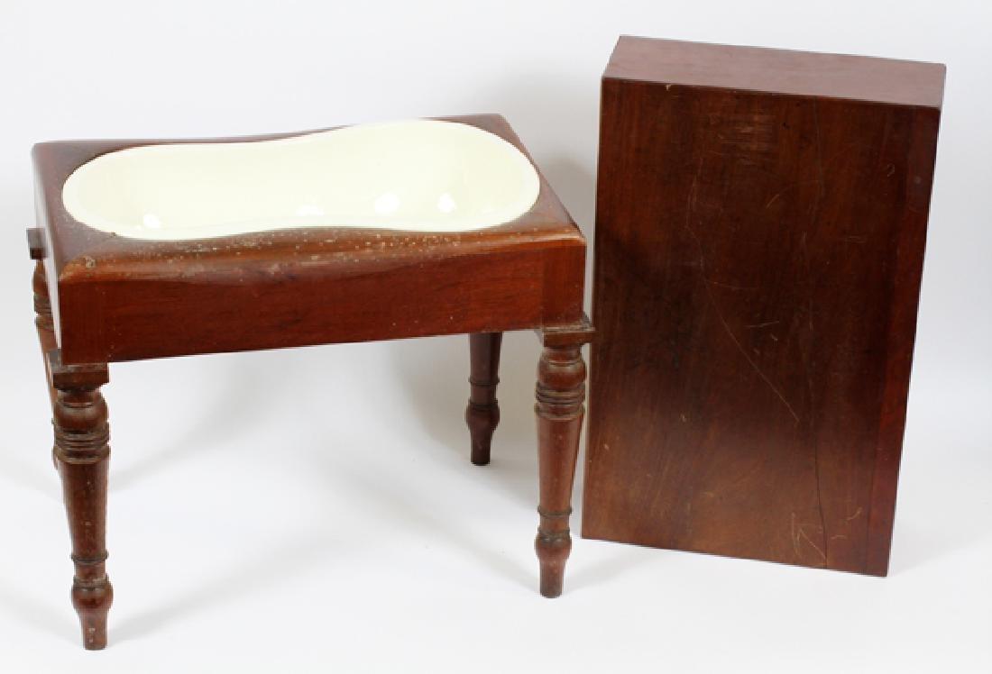 REGENCY MAHOGANY BIDET CIRCA 1840 WEDGWOOD INSERT