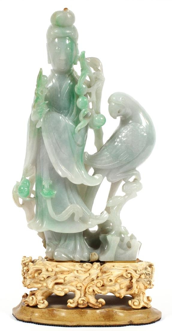 CHINESE CARVED JADE FIGURE OF GUANYIN
