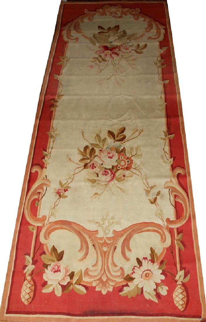 "FRENCH AUBUSSON  RUNNER, W 3' 2"" L 8' 9 1/2"""