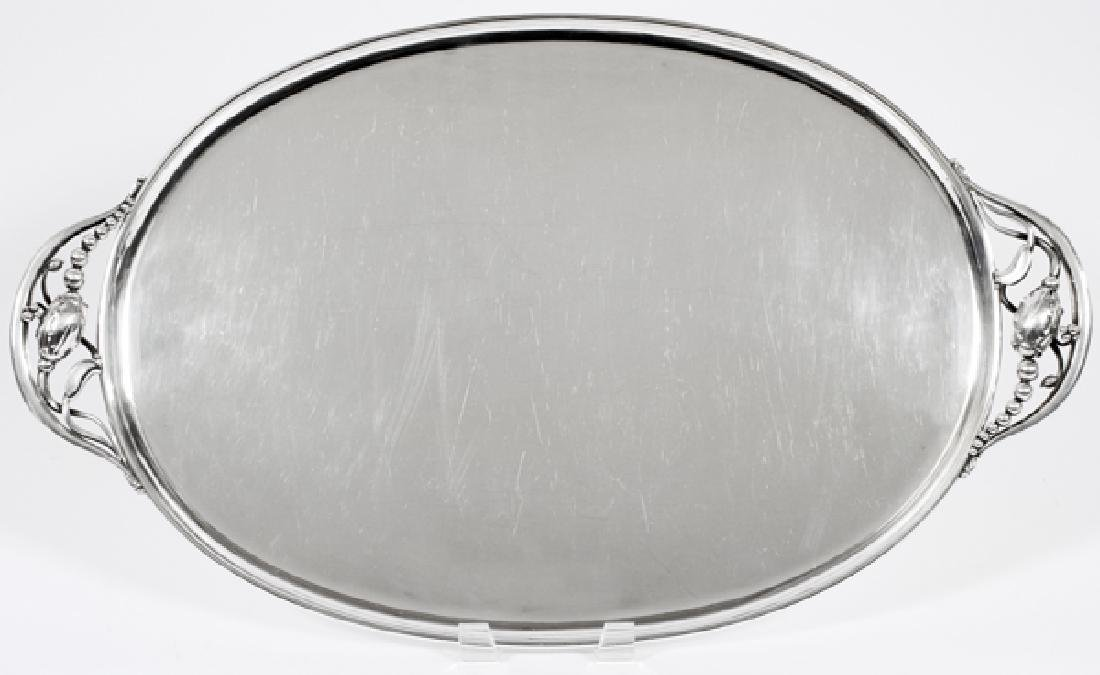 GEORG JENSEN STERLING 'BLOSSOM' OVAL TRAY
