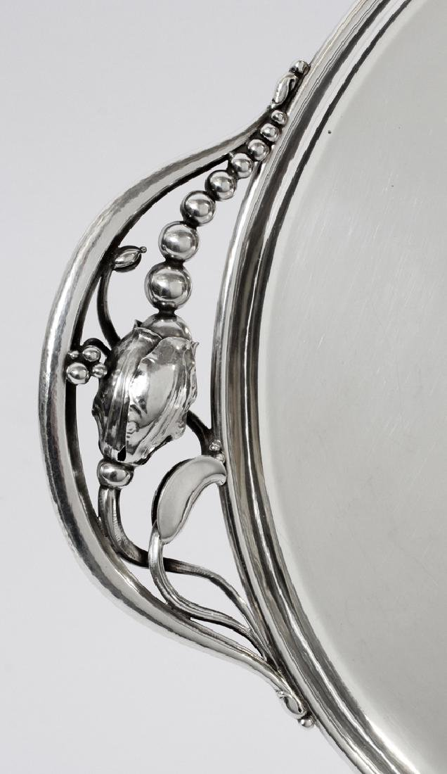 GEORG JENSEN STERLING 'BLOSSOM' OVAL TRAY - 3