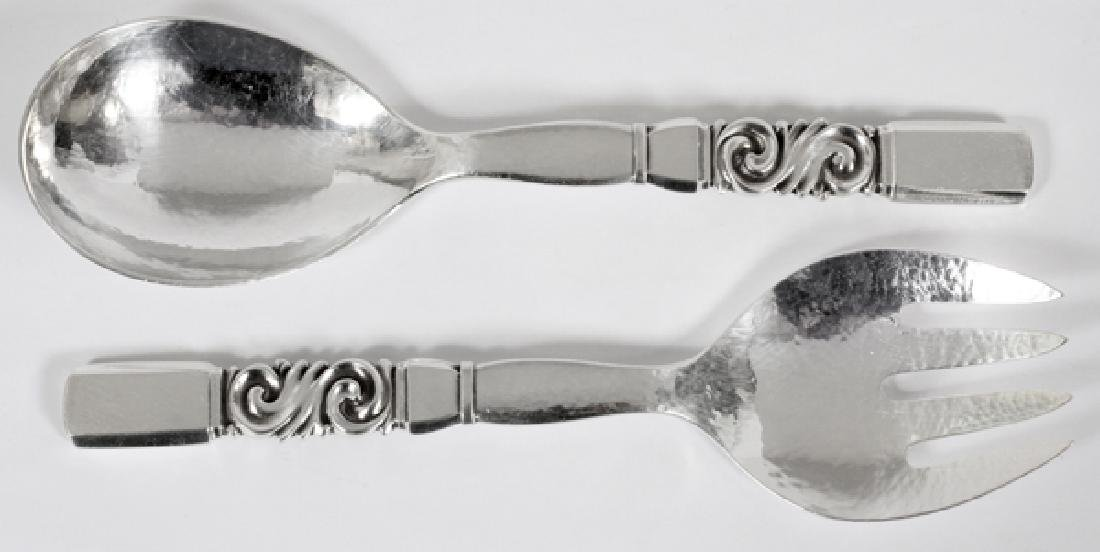 GEORG JENSEN STERLING 'SCROLL' SALAD SERVERS