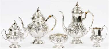 FRANK M. WHITING HAND CHASED STERLING TEA SERVICE