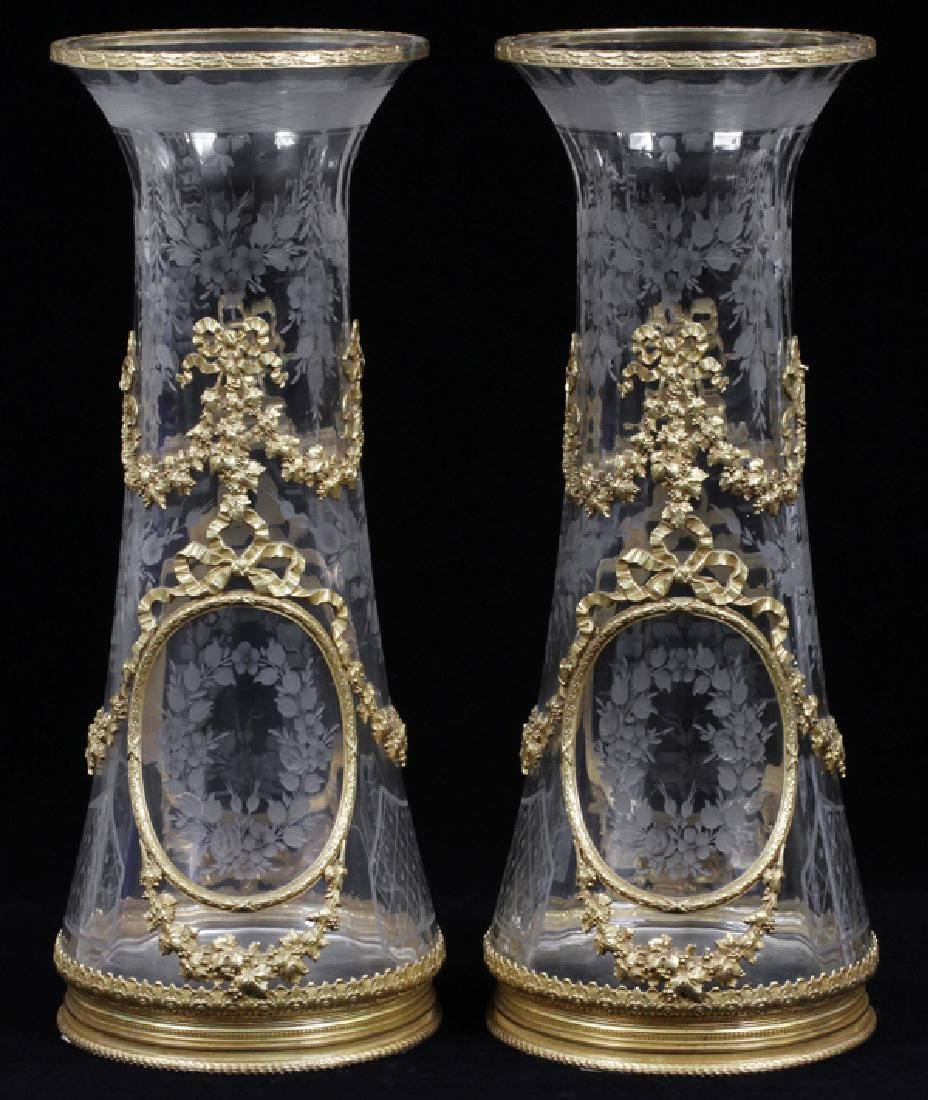 FRENCH BRONZE MOUNTED & ETCHED CRYSTAL VASES, PAIR