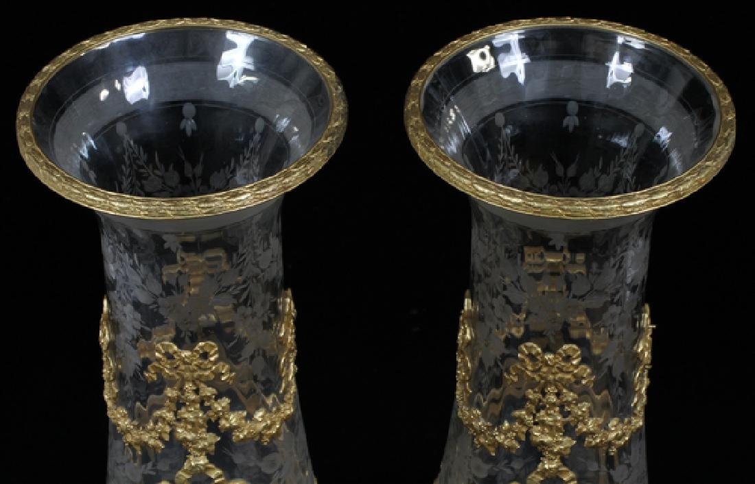 FRENCH BRONZE MOUNTED & ETCHED CRYSTAL VASES, PAIR - 2