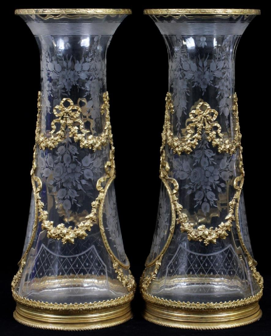 FRENCH BRONZE MOUNTED & ETCHED CRYSTAL VASES, PAIR - 4