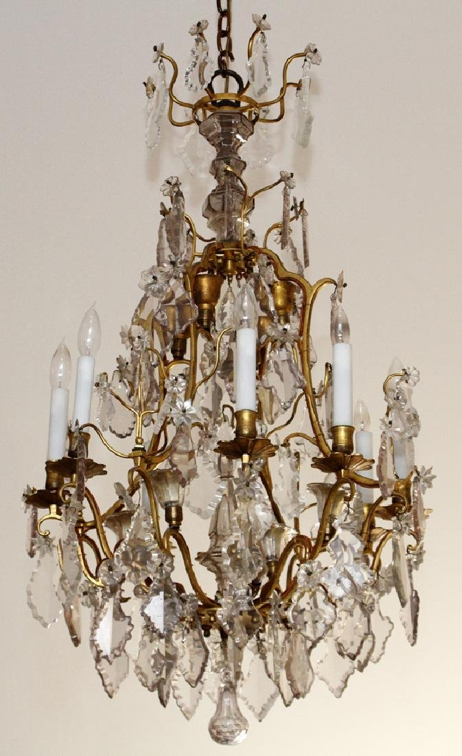 FRENCH BRONZE MOUNTED & CRYSTAL CHANDELIER
