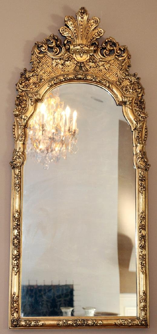 GEORGE I STYLE CARVED GILT WOOD MIRROR