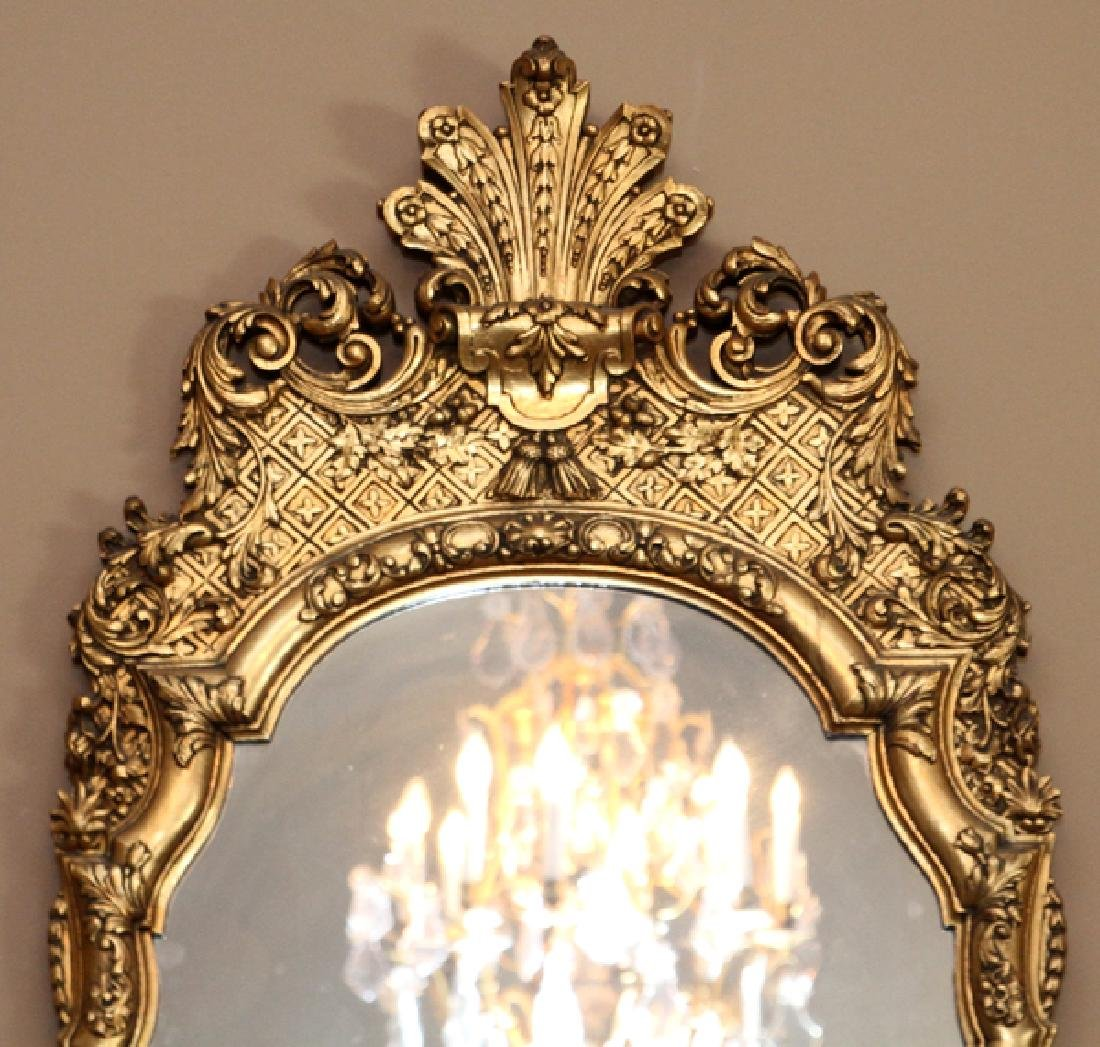 GEORGE I STYLE CARVED GILT WOOD MIRROR - 2