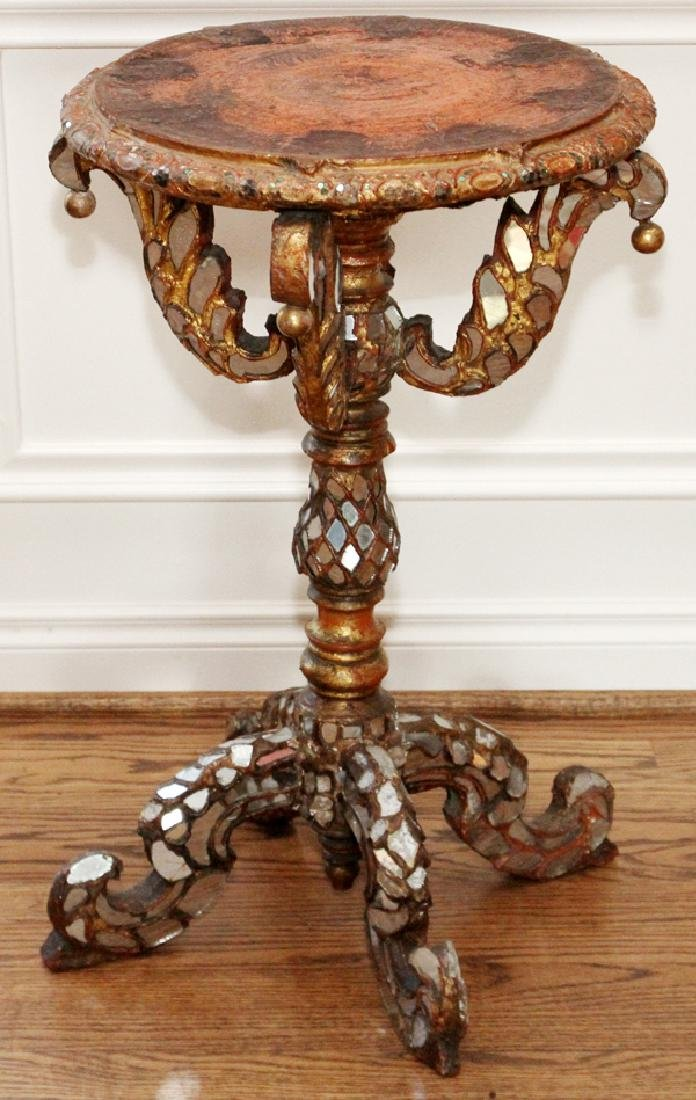 MOROCCAN COLORED GLASS & CARVED WOOD TABLE