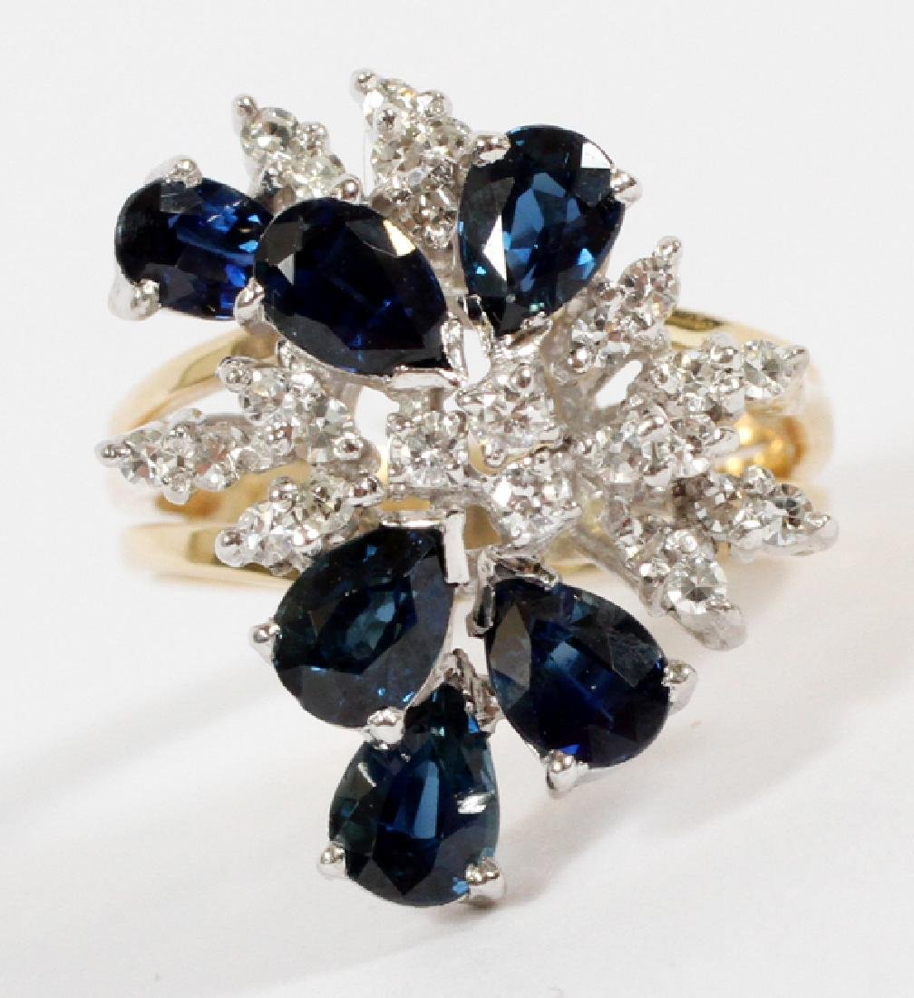 SAPPHIRE, .50CT DIAMOND AND 14KT YELLOW GOLD RING