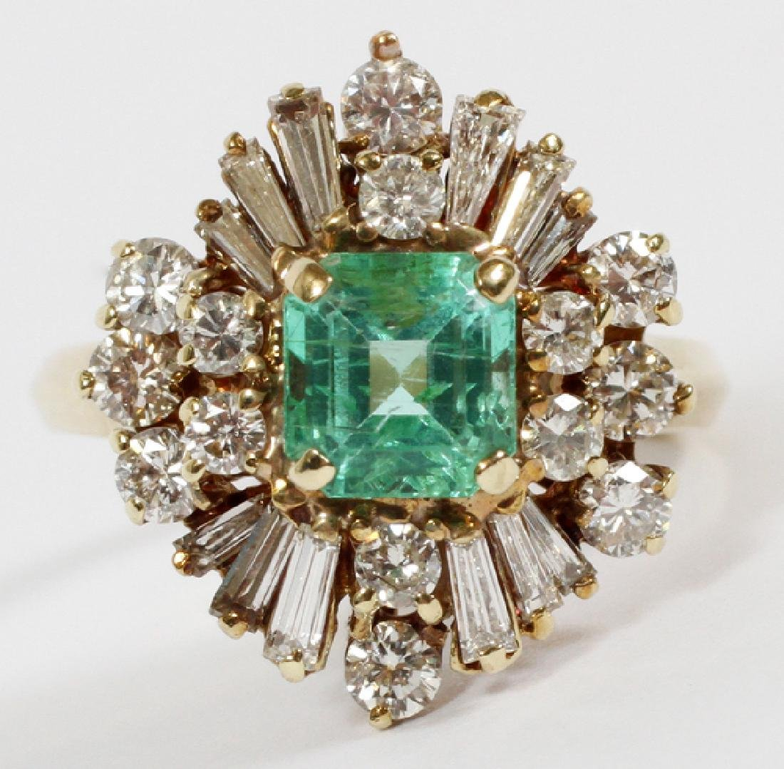 EMERALD, DIAMOND, & 14 KT GOLD COCKTAIL RING