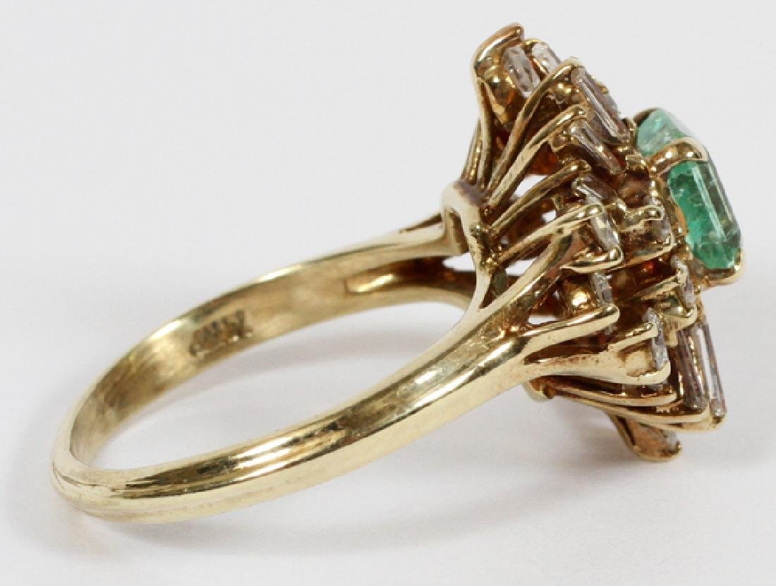 EMERALD, DIAMOND, & 14 KT GOLD COCKTAIL RING - 2