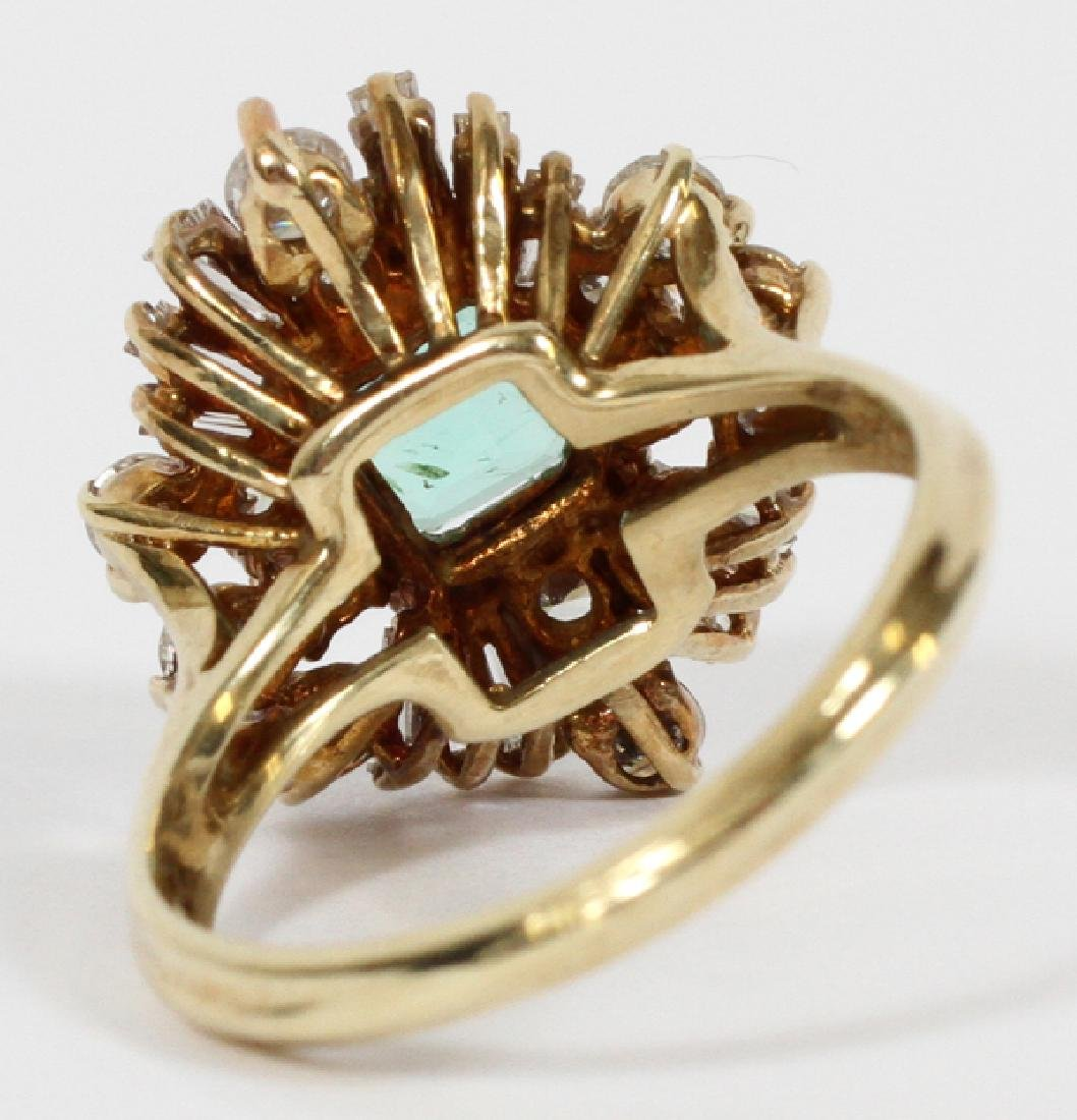 EMERALD, DIAMOND, & 14 KT GOLD COCKTAIL RING - 3