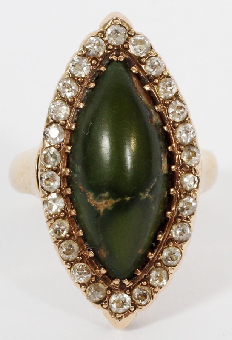 JASPER AND DIAMOND 14 KT GOLD RING