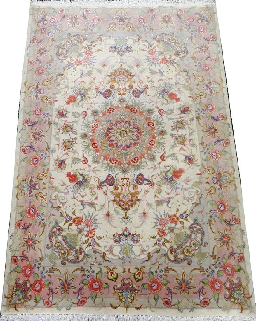 PERSIAN TABRIZ HAND WOVEN SILK AND WOOL RUG