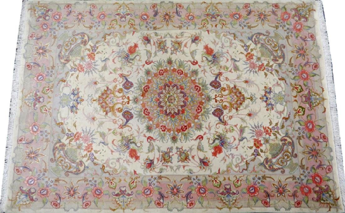 PERSIAN TABRIZ HAND WOVEN SILK AND WOOL RUG - 2