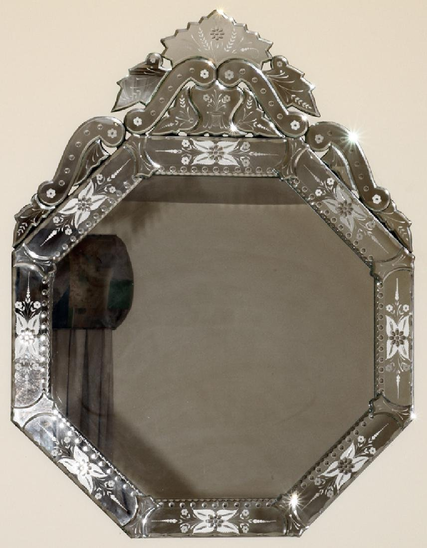 "VENETIAN CUT & ETCHED GLASS MIRROR, H 39"", W 30"""