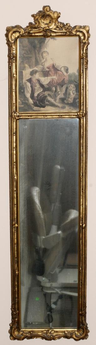 LOUIS XVI-STYLE CARVED GILTWOOD TRUMEAU MIRROR