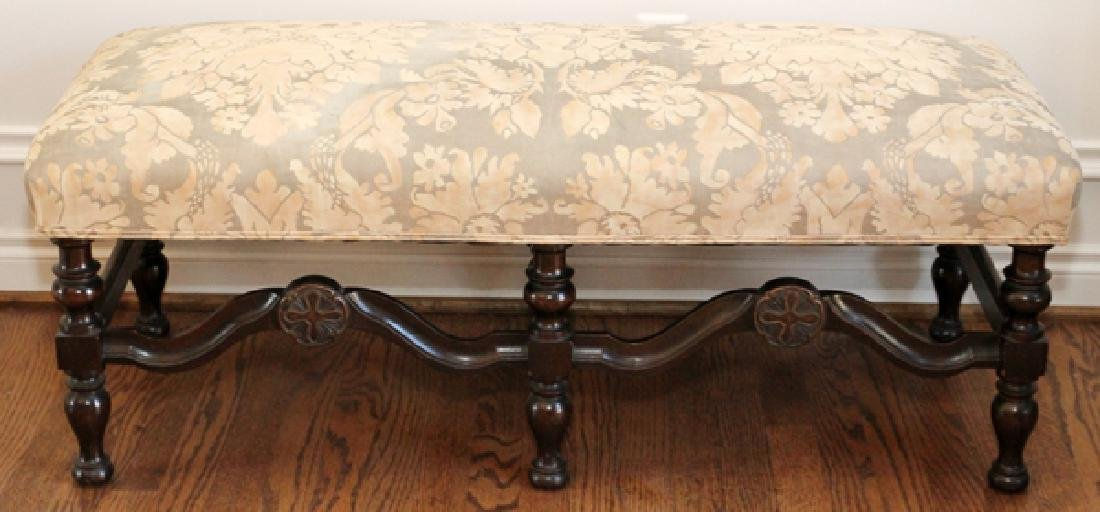 JACOBEAN STYLE CARVED WALNUT BENCH