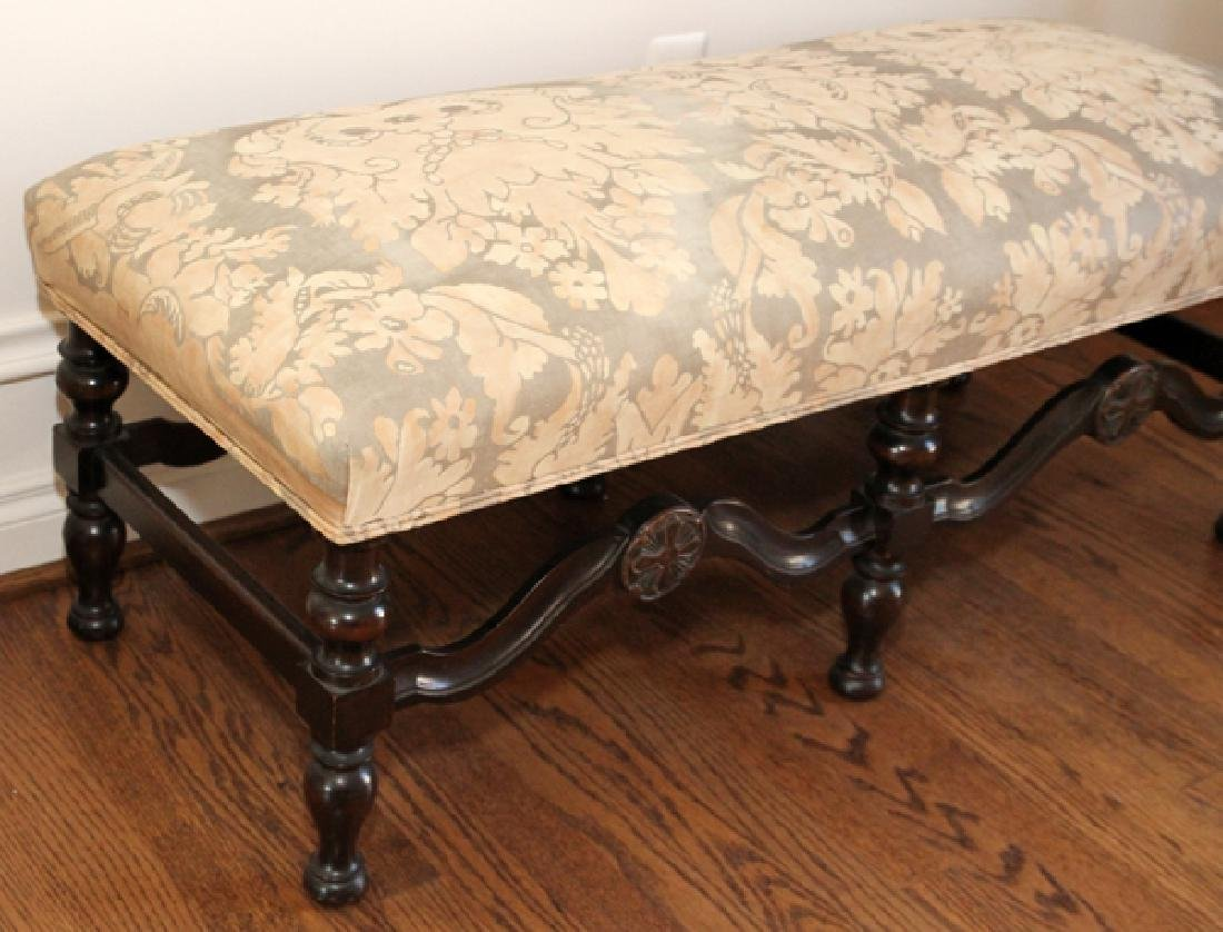 JACOBEAN STYLE CARVED WALNUT BENCH - 2