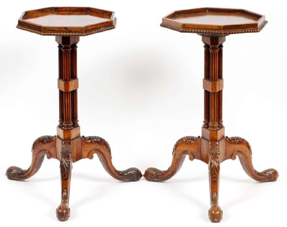 ENGLISH GEORGE III STYLE CARVED MAHOGANY TABLES