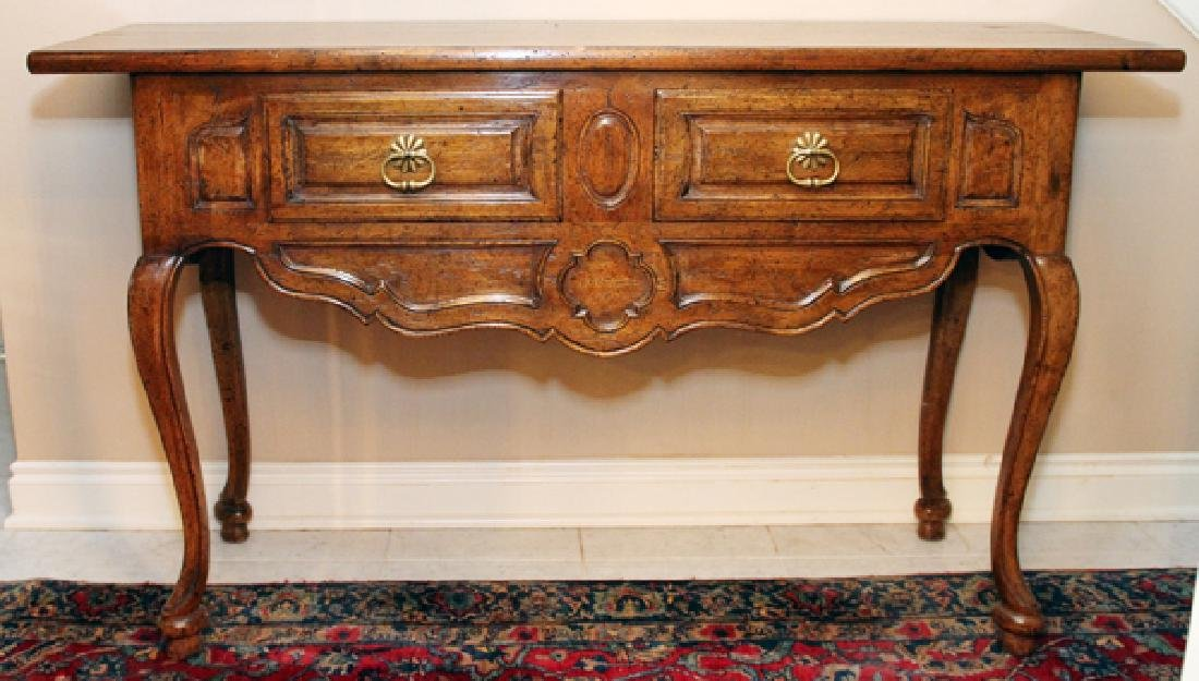 COUNTRY FRENCH STYLE WALNUT CONSOLE TABLE