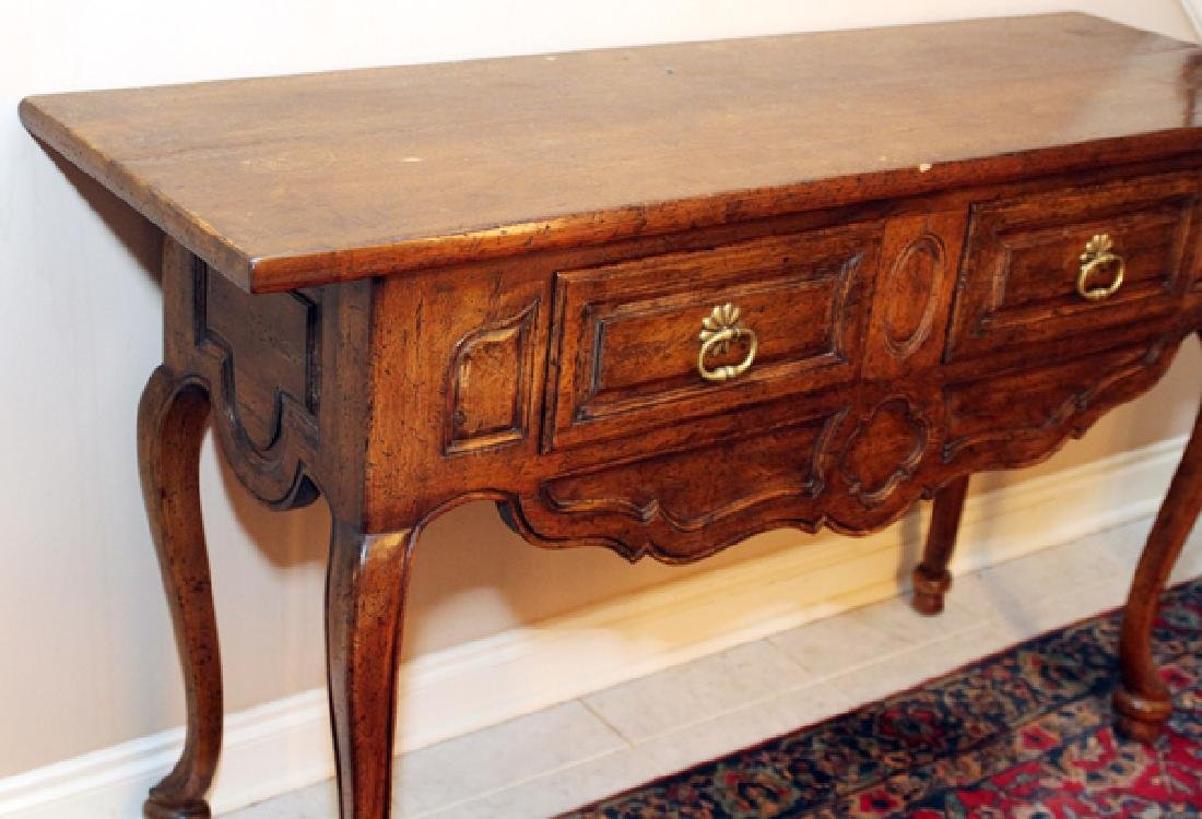 COUNTRY FRENCH STYLE WALNUT CONSOLE TABLE - 3