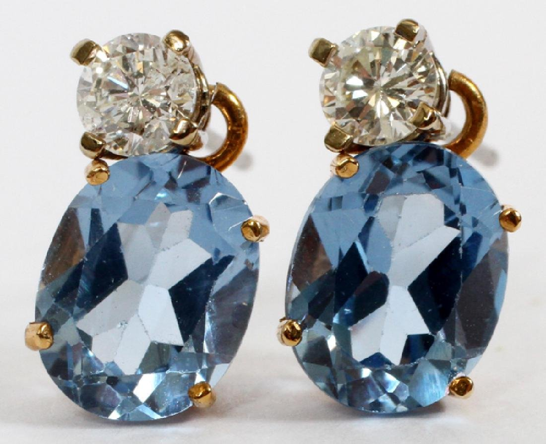 BLUE TOPAZ & DIAMOND EARRINGS, PAIR